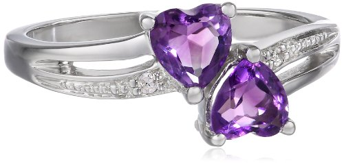 (Sterling Silver Diamond Accent and Amethyst Two Heart Ring, Size 8)
