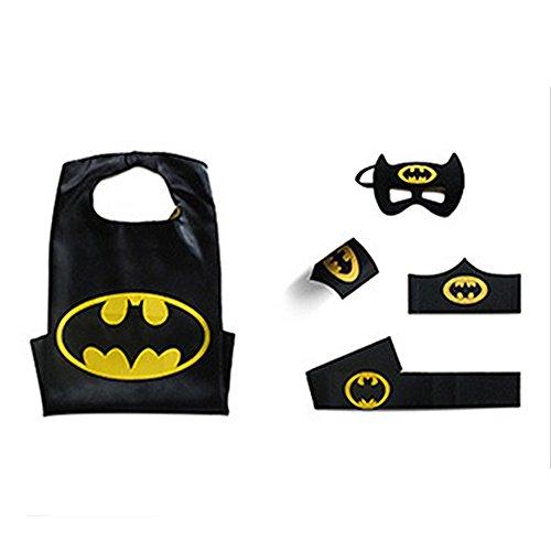 Comics Cartoon Dress Up Halloween Costumes Kids Superhero Cape with Felt Mask Wristband and Belt (Batman)