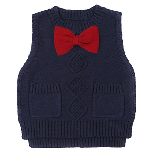 Old Navy Cable Knit Sweater - Taiycyxgan Little Boys Girls Cable Knit Sweater Vest Kids Bowknot Sweatshirt Vest Pullover Waistcoat Navy 130