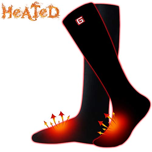 Unisex Electric Heated Socks Rechargeable Battery Powered Heating Socks,Men Women battery Operated Winter Warm Socks Kit,Novelty Sports Outdoor Camping Hiking Climbing Skiing Foot Warmer Black Size M