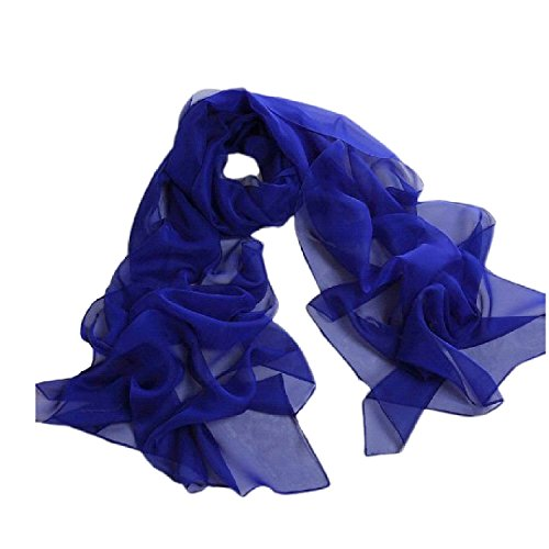 Blue Chiffon - Fashionable Solid Color Chiffon Scarf - Royal Blue