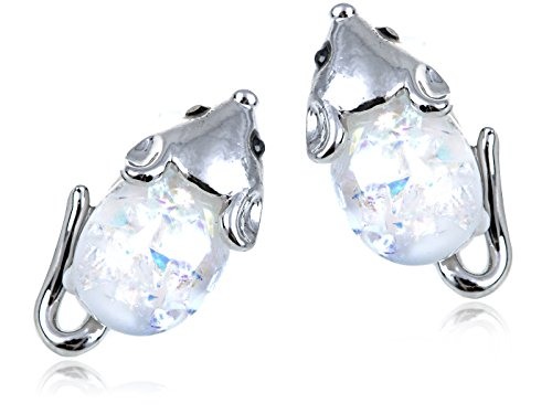 Alilang Womens Silver Tone White Opal Colored Stones Mini Mouse Rat Stud Earrings (Girls Mini Mouse Costume)