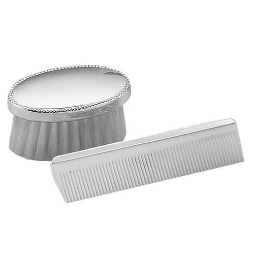 Empire Sterling Silver Oval Beaded Boy's Comb & Brush (Sterling Silver Hair Brush)