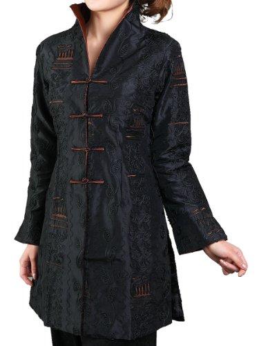 Noir Motif broderies avec feuilles Bitablue Veste femmes Chinoises PwqaT0