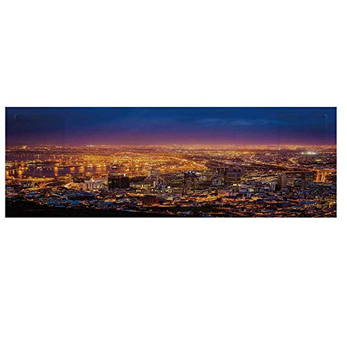 City Cotton & Linen Microwave Oven Protective Cover,Cape Town Panorama at Dawn South Africa Coastline Roads Architecture Twilight Cover for Kitchen,36
