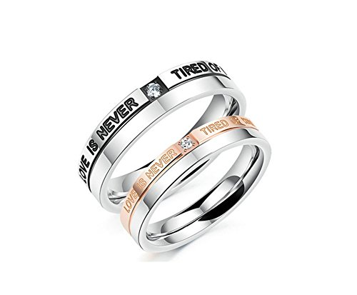 Bishilin Couple Rings Stainless Steel CZ Engraving