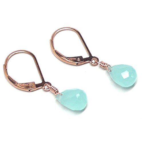 Gold Earrings Turquoise Rose (Aqua Chalcedony 8x5mm Briolette Lever Back Earrings Rose Gold-Filled)