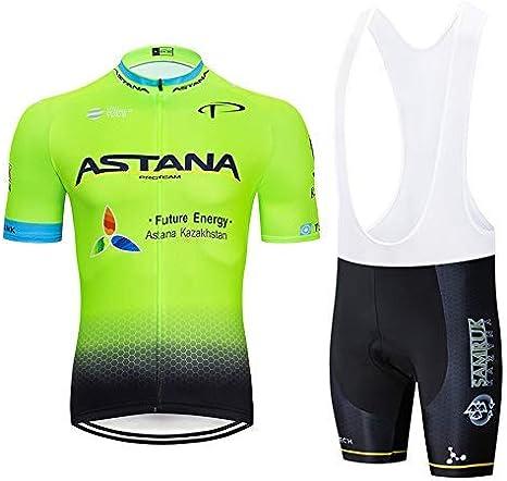 ADKE Uomo Abbigliamento Ciclismo Set Maglia da Ciclismo Manica Corta con 3D Gel Imbottiti Pantaloni Corti da Ciclismo