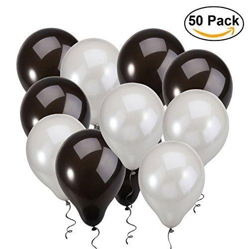 NUOLUX Latex Balloons,12 inch Black Silver Balloons for Wedding Birthday (Black Latex Balloons)