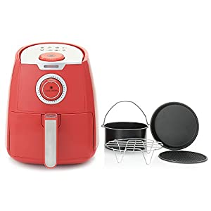 Paula Deen 3.5qt 1400W Manual Air Fryer w/ Accessories Red