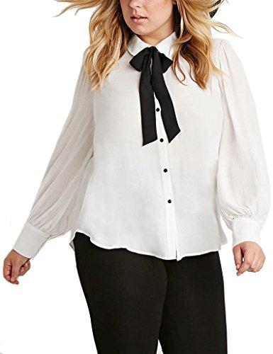 Choco Mocha Women's Peter Pan Collar Bow Tie Blouse Shirts Plus Size