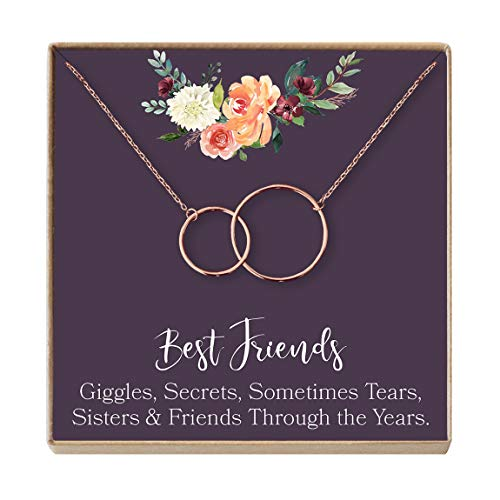 Dear Ava Necklace: Soul Sisters, BFF Necklace, Jewelry, Long Distance, Quotes, Friends Forever, 2 Linked Circles (Rose-Gold-Plated-Base, NA) ()