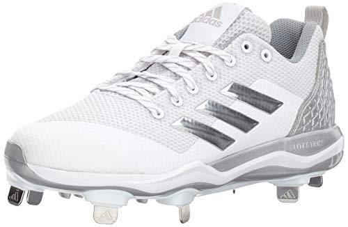 adidas Men's Freak X Carbon Mid Softball Shoe, White/Metallic Silver/Light Grey, 9 Medium US