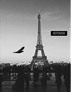 notebook pink eiffel tower paris unruled 100 pages large 85 x 11 inches