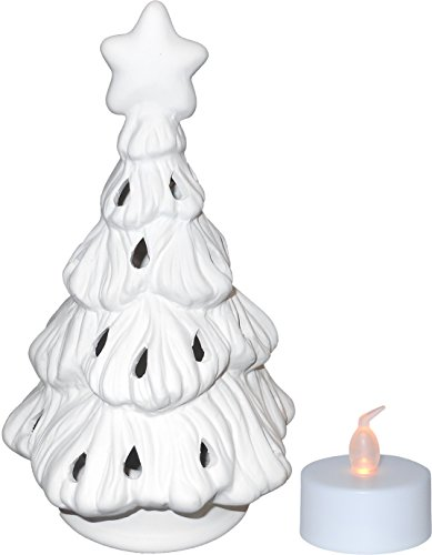 Festive Christmas Tree Votive Holder and Battery Operated Tea Light Set - Paint Your Own Ceramic Keepsake