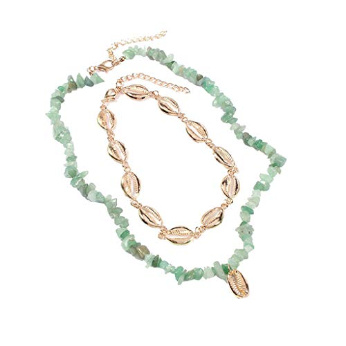 Peigen Multi-Shell Lady Pendant Necklace Long Chain Necklace Boho Charm Necklace Necklaces Beach Jewelry ()