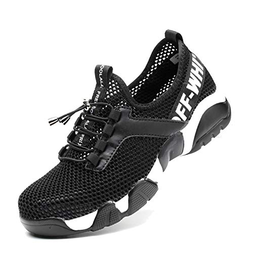 SUADEX Steel Toe Shoes Men, Breathable Lightweight Industrial and Constructions Work Safety Shoes, Puncture Resistant Composite Sneakers, Black-41