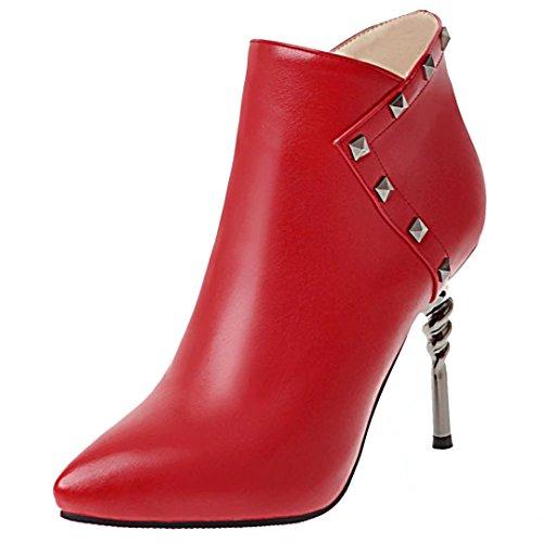 AIYOUMEI Damen Herbst Winter Spitz Stiletto Reißverschluss Nieten Stiefel mit 10cm Absatz Elegant Ankle Boots Rot