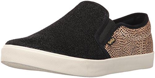 Gola Women's Orchid Safari Slip Fashion Sneaker, Black/Gold/Dot, 8 M US