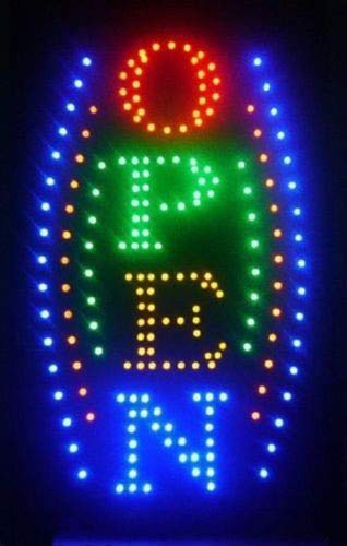 Perfect Large Vertical Animated LED Open Sign w. Motion ON/Off Switch from IA_BIG