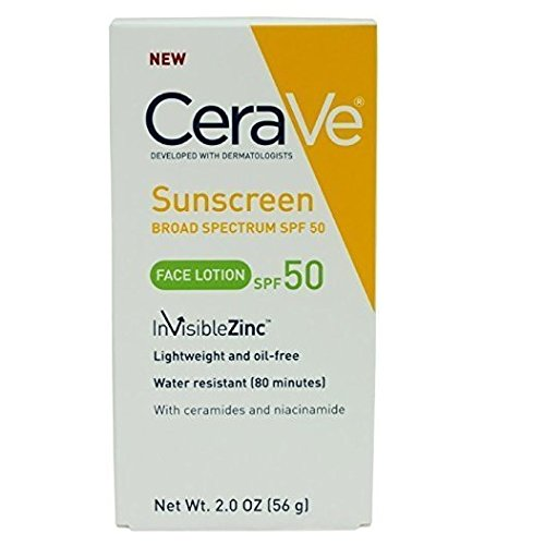 CeraVe SPF 50 Sunscreen Face Lotion, 2 Oz (Pack of 2)
