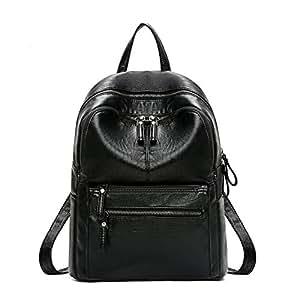 Backpack female mommy soft leather bag black backpack female junior high school bag student bag college student bag outdoor backpack