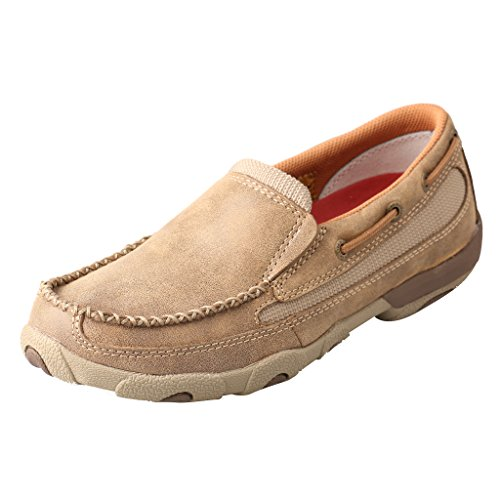 - Twisted X Women's Leather Slip-On Rubber Sole Moc Toe Driving Moccasins - Bomber