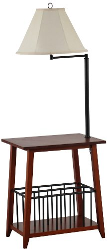 Seville Oak and Bronze Swing Arm Floor Lamp End Table - Crafts Cottage Oak Arts
