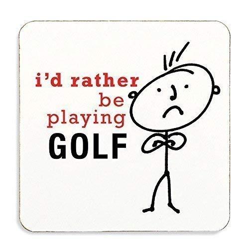 Hombre Id Rather Be Playing Golf Posavasos Corcho Atrás ...