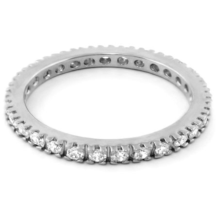Lauren G Adams Rhodium-Plated Eternity Band Ring with Clear CZ