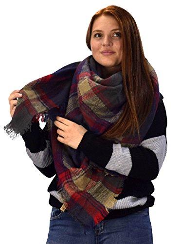 (Peach Couture Warm Tartan Plaid Woven Oversized Fringe Scarf Blanket Shawl Wrap Navy Blue Tan)