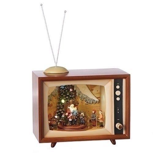 Visiting Santa Claus Vintage Television Light Up 10 x 16 Wood Musical Diorama Plays Jingle Bells
