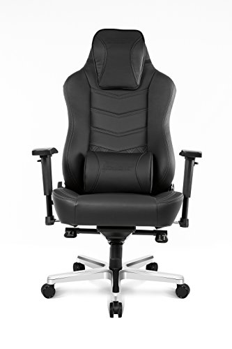 AKRacing Office Series Onyx Deluxe Executive Real Leather Desk Chair with High Backrest, Recliner, Swivel, Tilt, Rocker & Seat Height Adjustment Mechanisms, 5/10 Warranty - Black (Mechanism Adjustment Height)