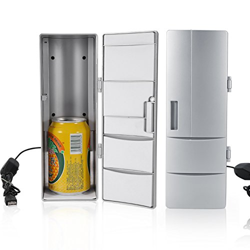 ZJchao Mini Refrigerator, Portable and Compact USB Fridge Freezer Cans Drink Beer Cooler Warmer Suitable for Travel Car Office Use