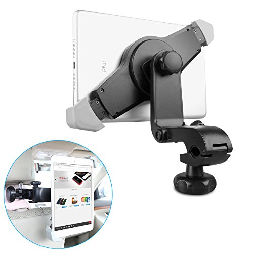 EC Technology 360 Drehbar Kopfstütze KFZ/Autohalterung für iPad/Galaxy Tab und andere Tablets - Schwarz