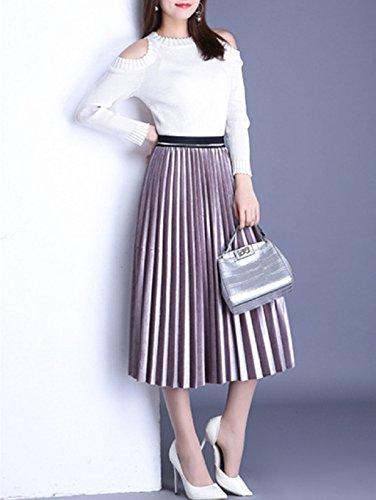 Adonis Pigou Women's Elastic Waist Pleuche Midi Skirt Tutu Spring Autumn