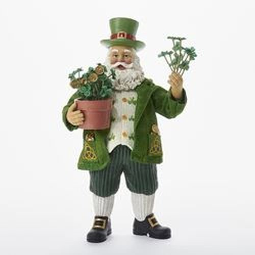Kurt Adler 11'' Fabriche' Musical Irish Santa