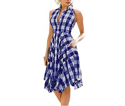 Jimmetfrend Women Checks Flared Plaid Shirtdress Explosions knee-length Vintage Shirt Dress