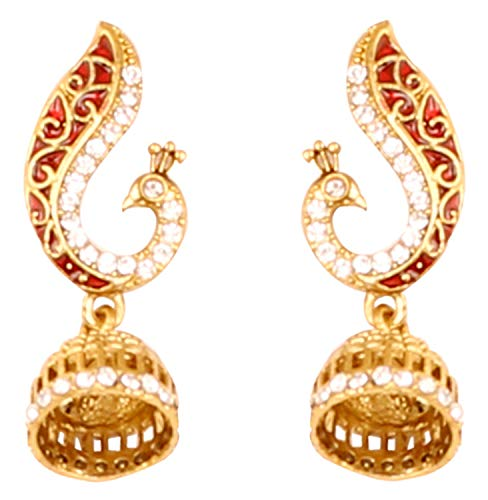 Touchstone Indian Bollywood enameled/Crystals Peacock Jewelry Earrings in Antique Gold Tone for - Crystal Enameled