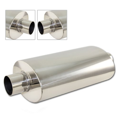 2.5'' Inlet/Outlet T-304 Stainless Steel Muffler Resonator Canister - Tipless