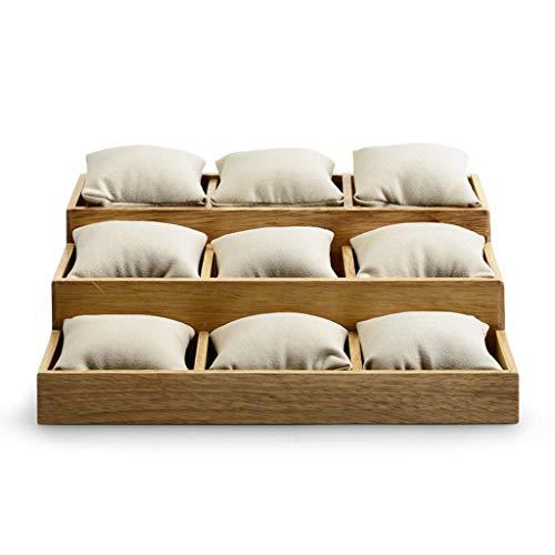 9 Watch Tray/Display Stand, Beige Superfiber Jewelry Showcase Box, Solid Wood Storage Case Organizer - 27 X 23.5 X 8.5/3 cm