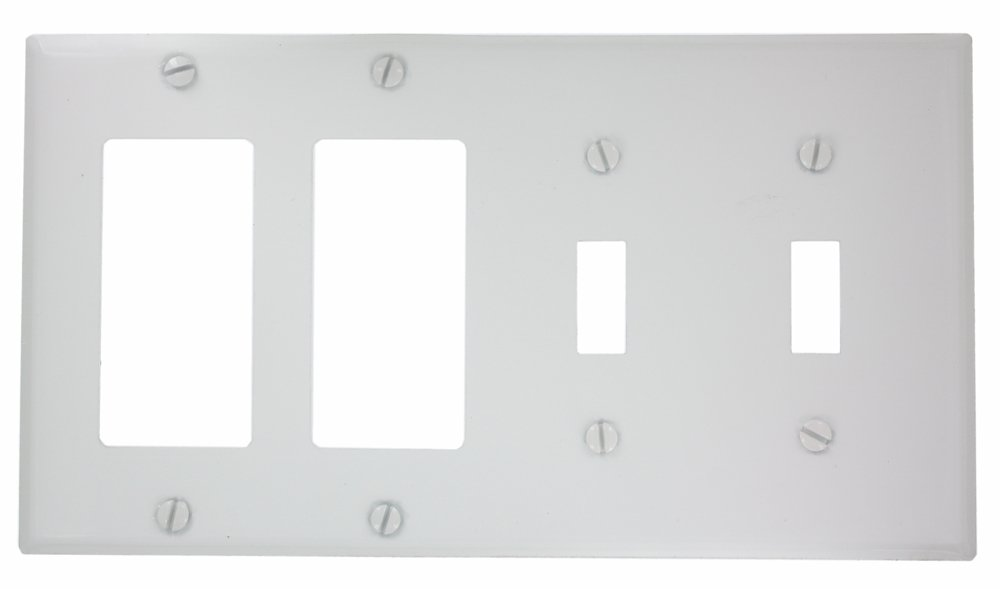 Leviton P2262-W 4-Gang 2-Toggle Decora/GFCI Device Combination Wallplate, Device Mount, White