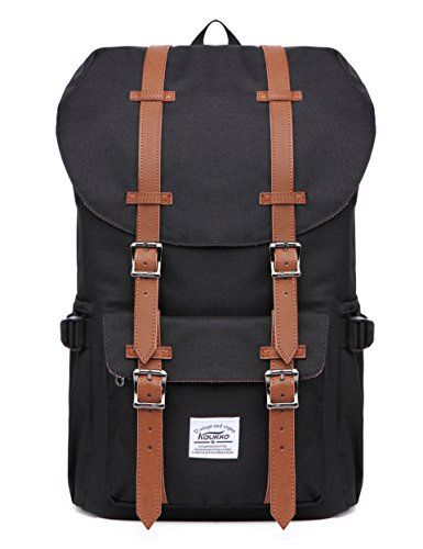 "Kaukko Laptop Outdoor Backpack, Travel Hiking& Camping Rucksack Pack, Casual Large College School Daypack, Shoulder Book Bags Back Fits 15"" Laptop & Tablets (Nblack)"