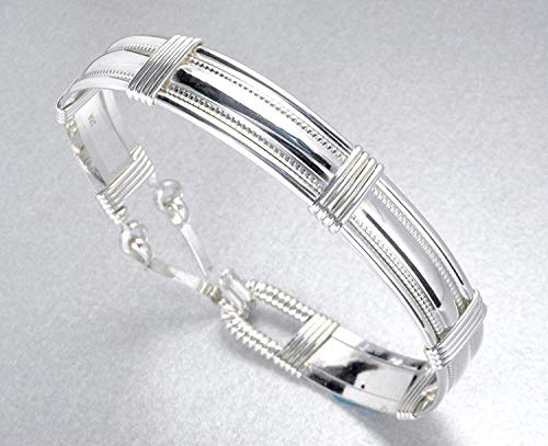 Handmade Sterling Silver Wire Wrapped Bracelet - Size S/M 7 Inches - Gifts For Women - Made In Alaska ()