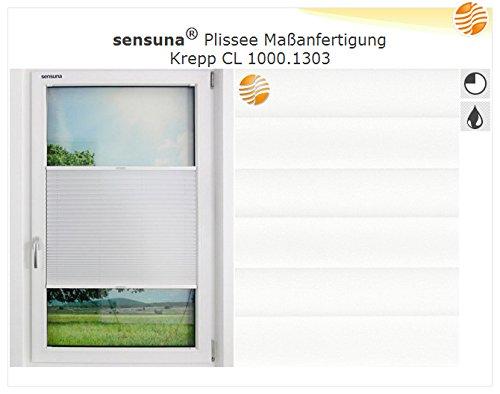 Sensuna Plissee Stoffmuster 1303 für transparente Plissees in Weiß , Verkehrsweiß nach Maß