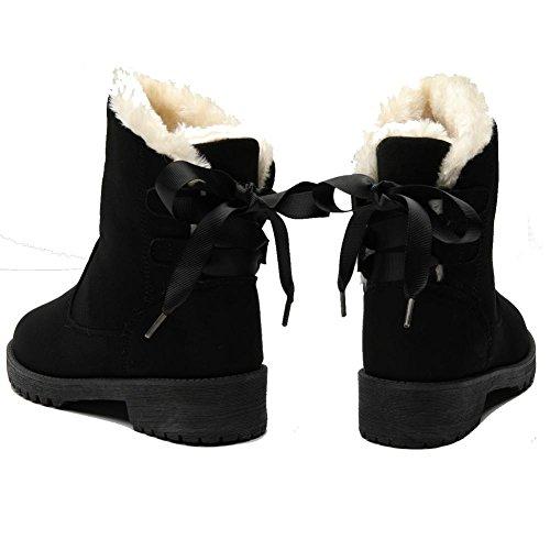 Grueso BLACK Zapatos 37 de wdjjjnnnnv plano para cálido Felpa gamuza casuales algodón cortas Botas Zapatillas Tobillo de de mujer tacón aaqF7Ug