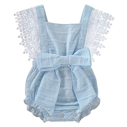(Newborn Baby Girl Lace Linen Romper Bodysuit Outfit Sleeveless Sunsuit Jumpsuit with Bowknot Summer Embroidery Clothes)