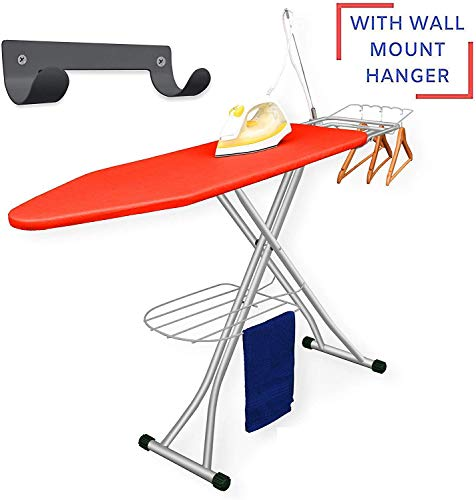 Xabitat Deluxe Ironing Board with Wall Mount Storage, Storage Tray for Finished Clothes, Wire Rack for Hanging Shirts and Pants, Safety Iron Rest, Home Laundry Room or Dorm Use - Red
