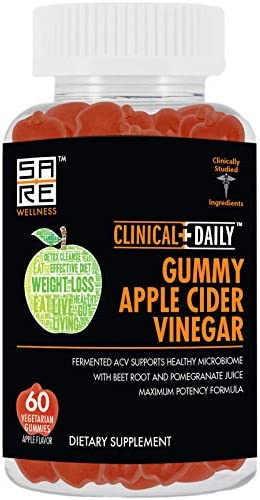 "CLINICAL DAILY Apple Cider Vinegar Gummies for Weight Loss, Energy and Immune Health. 60 Vegetarian ACV Gummies Alternative to ACV Capsules with""The Mother"", Beet Root, Pomegranate Juice, Vitamin B12 1"