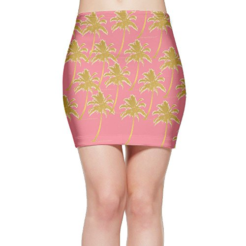 SKIRTS WWE Palm Tree Beach Sunset Gold Glitter Women's Package Hip High Waisted Mini Short Skirt by SKIRTS WWE